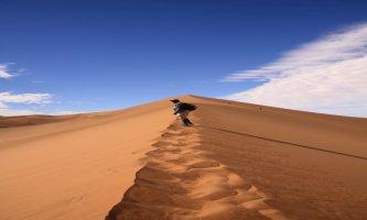 Climbing the highest dune in the Namiba Desert, Sossusvlei, Namibia
