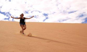 Coming down from Big Daddy, Namiba Desert, Sossusvlei, Namibia