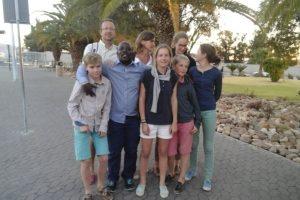 Farewell to a French family at Hosea Kutako International Airport, Namibia