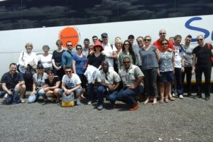Nive (guide) picking up a group of French tourists for a 10 day tour in Namibia